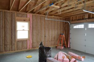 insulated walls of garage