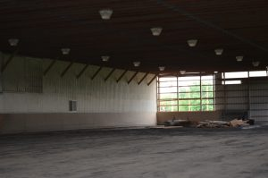 warehouse with lights on ceiling