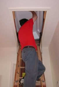 man on ladder into attic