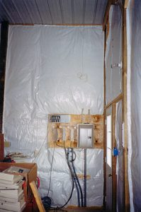 insulation surrounding electrical panel